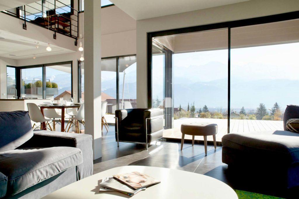 Maison Ossature Bois Isère - Bois Lauréate Lauriers de la Construction Bois : L'espace du séjour
