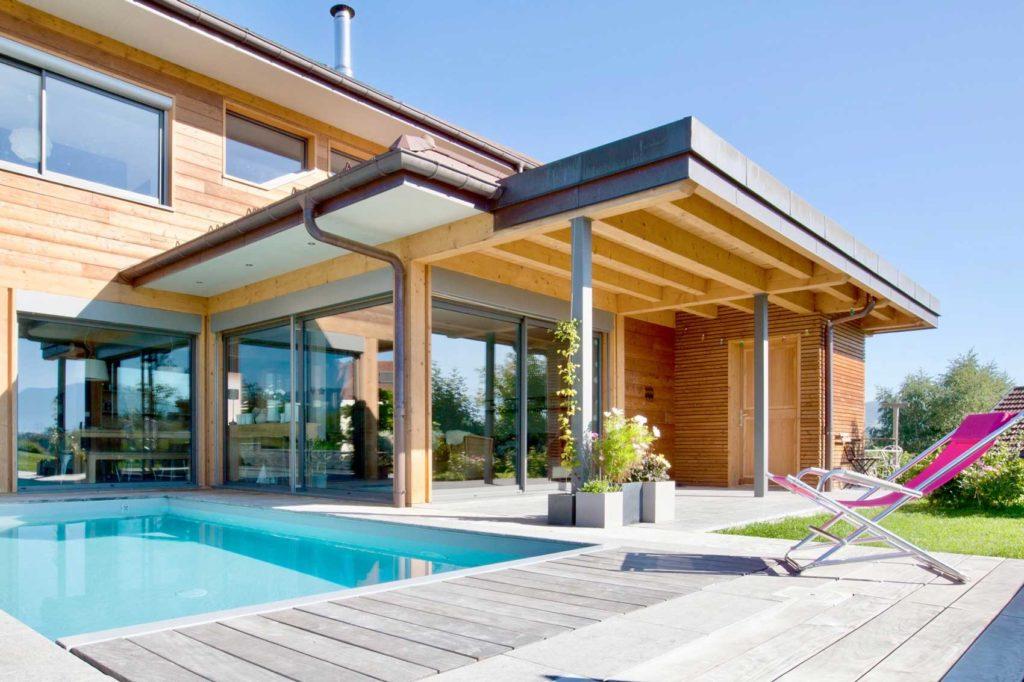 Maison Bois Poisy - terrasse piscine