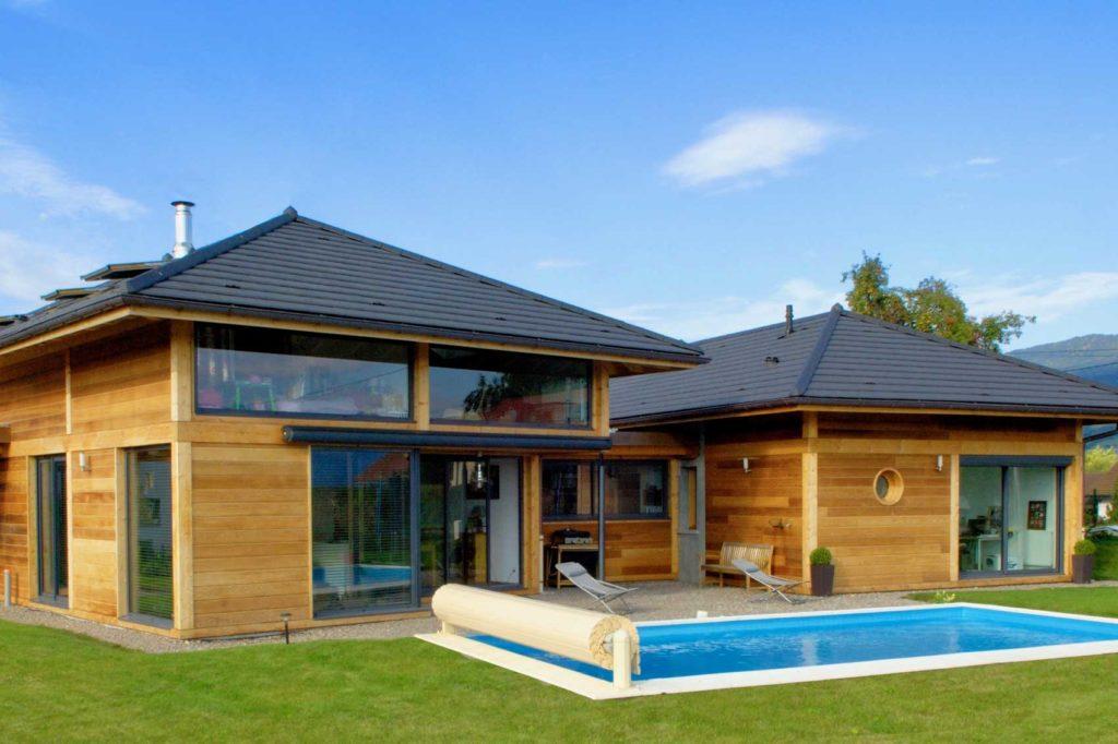 Maison Bois double Vetraz Monthoux - jardin piscine