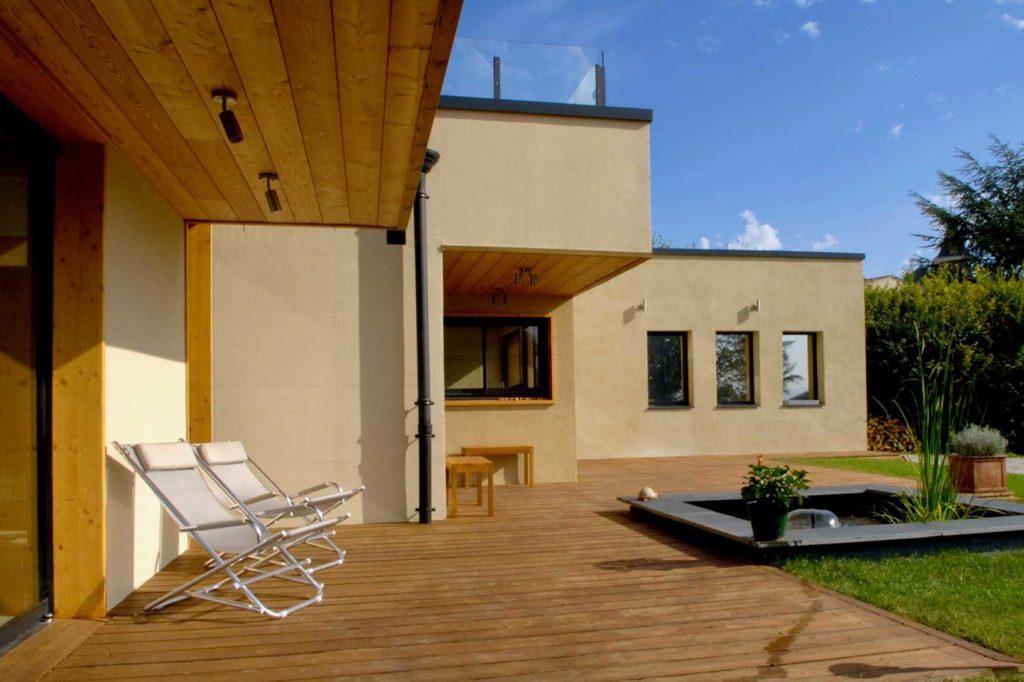 Maison bois St Cyr au Mont d'Or - terrasse