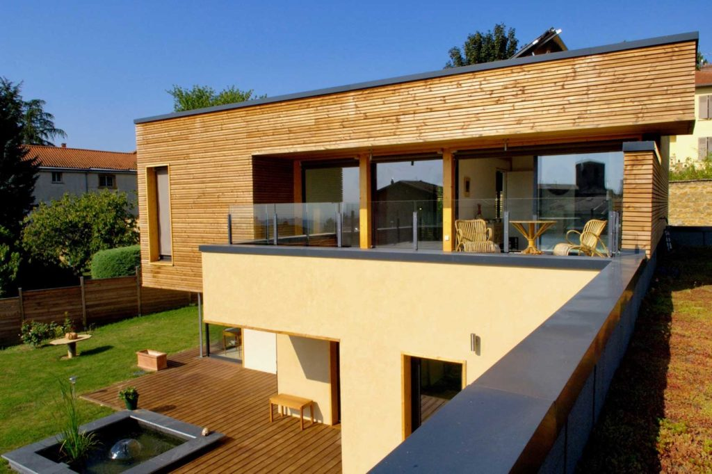 Maison bois St Cyr au Mont d'Or - terrasse supérieure