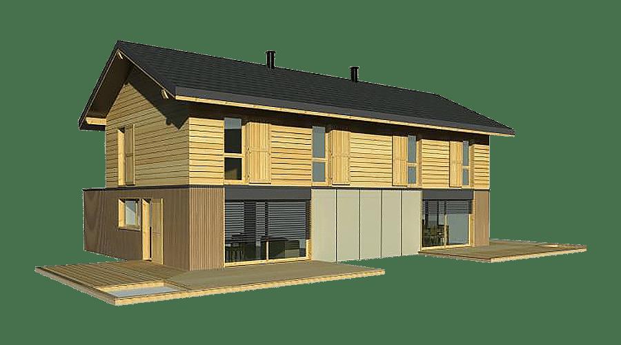 maison bois jumelée