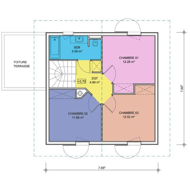 plan maison 2 pans combles