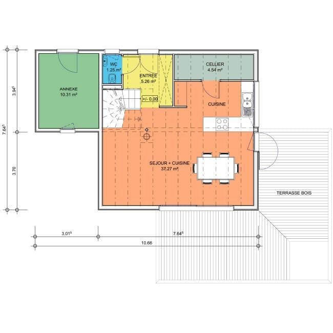 plan maison 2 pansrez-de-chaussee