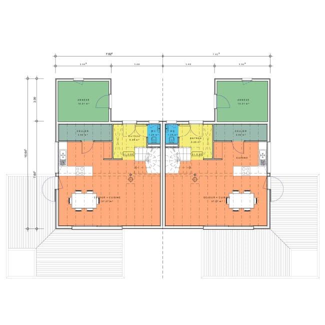 plan maison jumelée rez-de-chaussee