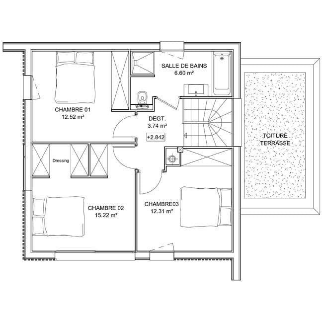 plan maison the kube combles