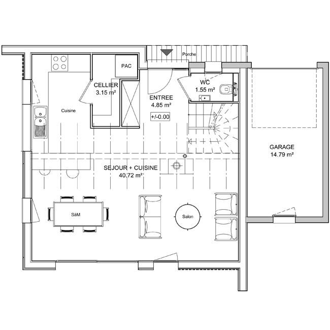 plan maison the kube rez-de-chaussee