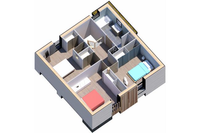 maison bois 2 pans plan 3D Etage