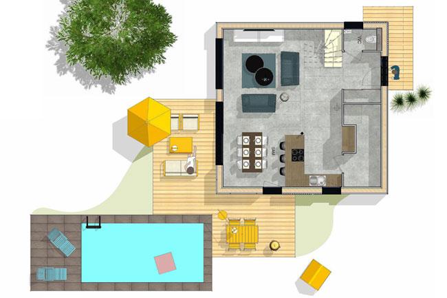 maison bois plan général