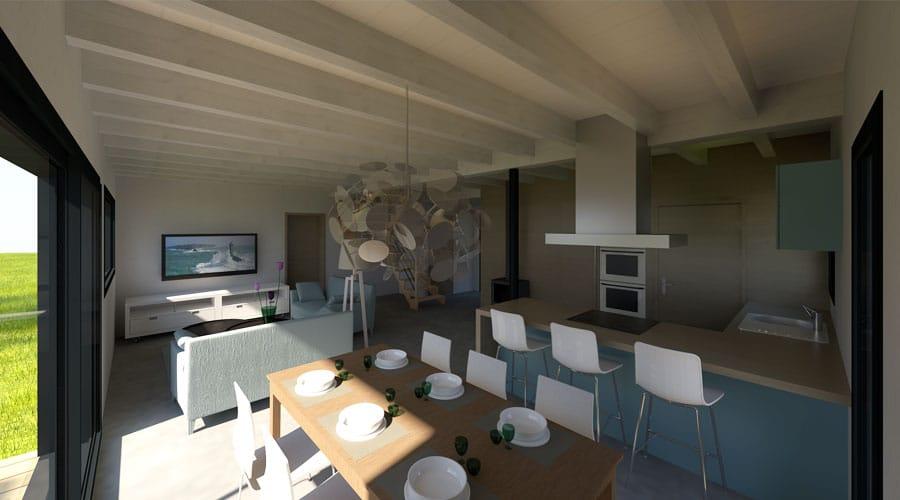 maison bois modules supplémentaires intérieur